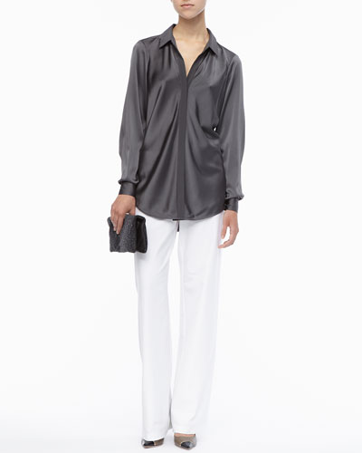 Eileen Fisher Silk Long-Sleeve Shirt, Modern Wide-Leg Pants & Galaxy Textured Leather Clutch, Petite