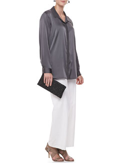 Eileen Fisher Silk Long-Sleeve Shirt, Modern Wide-Leg Pants & Galaxy Textured Leather Clutch, Women's