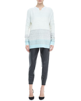 Vince Silk Welt Pocket Blouse, Degrade Cashmere Long-Sleeve Sweater, Aqua & Cropped Leather Pants, Graphite