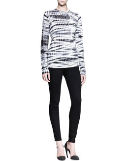 Proenza Schouler Long-Sleeve Tie-Dye Tee and Ultra-Skinny Ankle Jeans