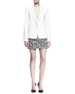Proenza Schouler Single-Button Blazer, Long-Sleeve Sweater & Abstract-Print Miniskirt