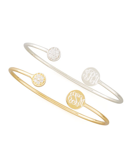 Sarah Chloe Elle Diamond Disc- Monogram Bangle, Silver