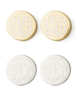 Sarah Chloe Lia Monogrammed Stud Earrings