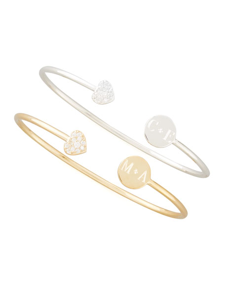 Sarah Chloe Elle Diamond-Heart Monogrammed-Disc Bangle, Silver