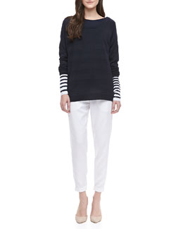 Vince Striped Intarsia Sweater & Cropped Twill Trousers