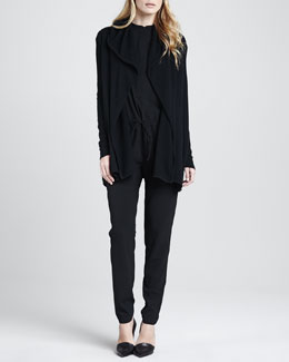 Vince Knit Jumpsuit with Drawstring Waist & Cashmere Hooded Cardigan