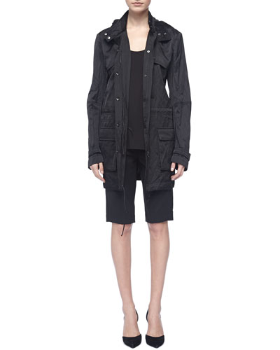 Vince Loose Arch-Hem Tank, Black, Luxe Hooded Long Anorak & Tropical Wool Bermuda Shorts