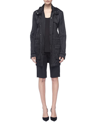 Loose Arch-Hem Tank, Black, Luxe Hooded Long Anorak & Tropical Wool Bermuda ...