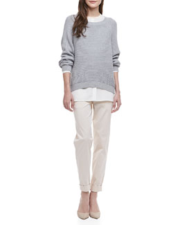 Vince Two-Tone Silk Blouse, Ribbed Knit Raglan Sweater & Relaxed Twill Boyfriend Trousers