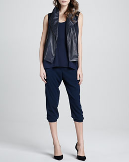 Vince Leather Asymmetric Vest, Loose Arched-Hem Tank & Jersey Cropped Pants