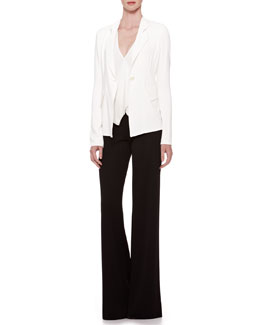 Donna Karan Single-Button Stretch Jacket, Georgette-Trim Vest Top & Wide-Leg Jersey Trousers