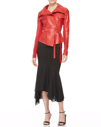 Belted Leather Jacket, V-Neck Top & Chiffon-Bottom Trumpet Skirt