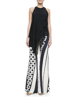 Donna Karan Asymmetric Draped-Neck Top & Printed Wide-Leg Pants