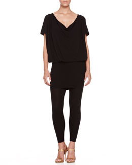Donna Karan Convertible Jersey Tunic Dress and Jersey Ankle Leggings