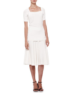 Donna Karan Short-Sleeve Shrug Top & Jersey Fit-and-Flare Skirt