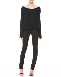 Donna Karan Wide-Neck Macrame Top and Leather-Piped Skinny Pants