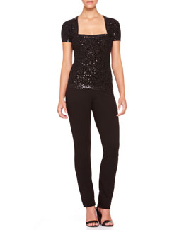 Donna Karan Sequined Cashmere Shrug Top & Straight-Leg Body II Pants