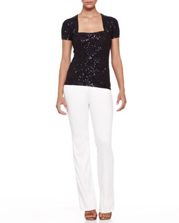 Donna Karan Sequined Shrug Top and Boot-Cut Pull-On Pants