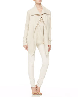 Donna Karan Cashmere Oversized Zip Coat and Cowl-Neck Top