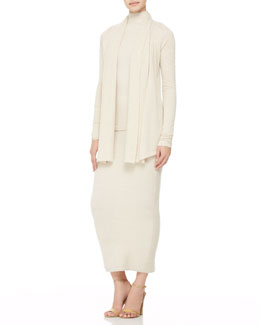 Donna Karan Cashmere Drape-Front Cardigan, Cold-Shoulder Turtleneck & Long Tube Skirt