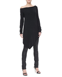 Donna Karan Long-Sleeve Asymmetric Top and Leather-Front Skinny Pants