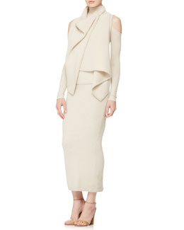 Donna Karan Cashmere Asymmetric Vest, Cold-Shoulder Turtleneck & Long Tube Skirt
