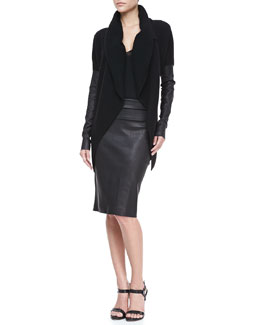 Donna Karan Leather-Sleeve Cardigan, Cap-Sleeve Top & Stretch Leather Tube Skirt
