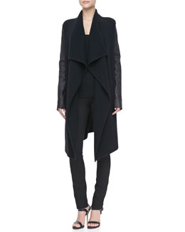 Donna Karan Leather-Sleeve Cashmere Coat, Scoop-Neck Tank & Leather-Piped Skinny Pants