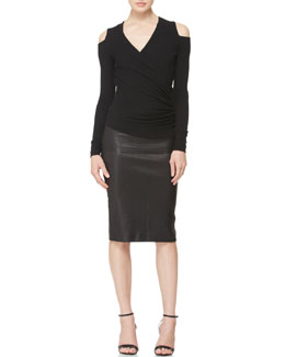Donna Karan Asymmetric Cold-Shoulder Top & Stretch Leather Tube Skirt