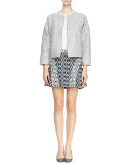 10 Crosby Derek Lam Rounded Tweed Jacket, Pocket Tee & Flared Jacquard Skirt