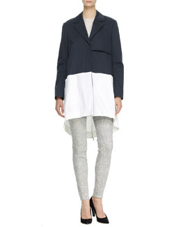 10 Crosby Derek Lam Bicolor Back-Zip Trenchcoat, Pocket Tee & Jacquard Skinny Pants