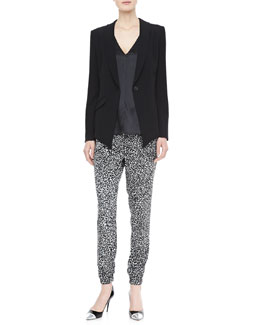 10 Crosby Derek Lam Asymmetric-Hem Blazer, Mesh-Back Top & Printed Track Pants