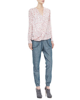 10 Crosby Derek Lam Printed Drape-Front Blouse and Washed Chambray Track Pants