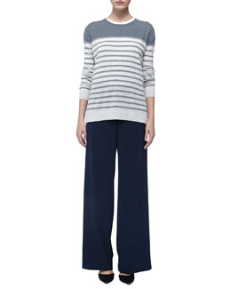 Vince Striped Cashmere Sweater, Basic Tee & Wide-Leg Crepe Pants