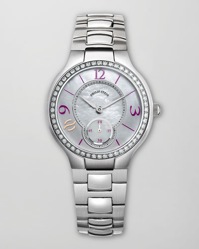 Small Round Diamond Watch Head & 18mm Stainless Steel Diamond Bracelet