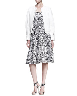 Jil Sander Boxy Collarless Leather Jacket and Fresco Printed Strapless Dress