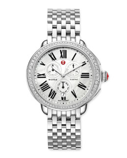MICHELE Serein Glamour Diamond Watch Head & 18mm Stainless Steel Bracelet Strap