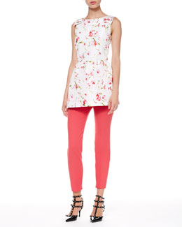 RED Valentino Sweet Pea Faille Tunic and Tech Cady Skinny Pants