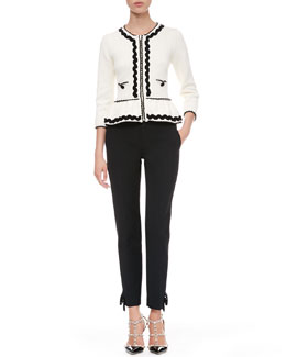 RED Valentino Ric-Rac Peplum Jacket and Tech Cady Bow Ankle Pants