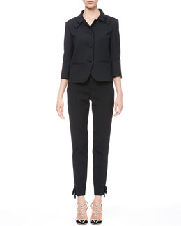 RED Valentino Tech Cady Bow-Lapel Blazer and Bow Ankle Pants