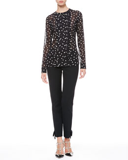 RED Valentino Dotted Pleat-Front Blouse & Tech Cady Bow Ankle Pants