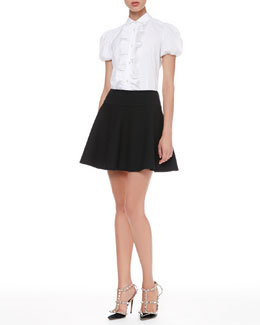 RED Valentino Short-Sleeve Ruffled Blouse and Tech Cady Full Skirt