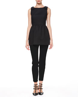 RED Valentino Sleeveless Bow-Shoulder Tunic and Tech Cady Skinny Pants
