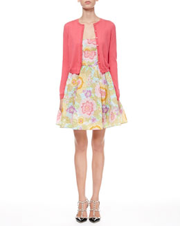 RED Valentino Full Pop-Flower Scoop Dress and Long-Sleeve Cropped Cardigan