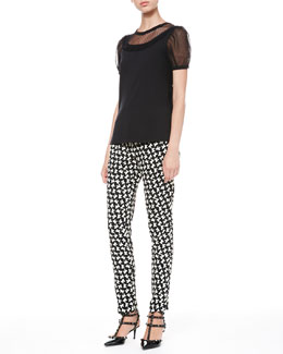 RED Valentino Point D'Esprit-Sleeve Tee and Bow-Print Ankle Pants