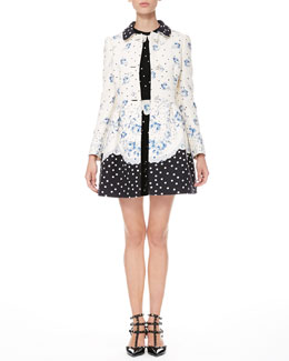 RED Valentino Rose-Dot Combo Coat and Rose-Scalloped Polka Dot Dress