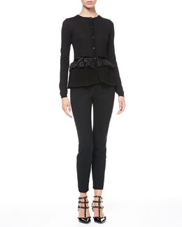 RED Valentino Lace-Waist Peplum Cardigan and Tech Cady Skinny Pants