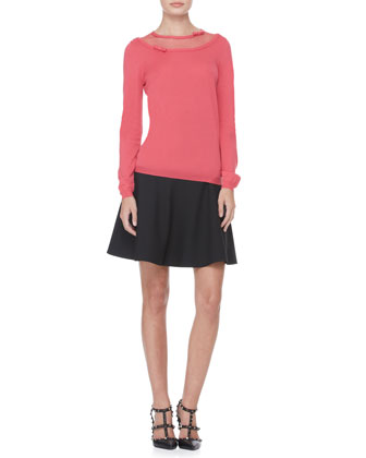 Dotted-Top Bow Pullover and Tech Cady Full Skirt