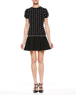 RED Valentino Polka Dot Knit Top and Tech Cady Full Skirt