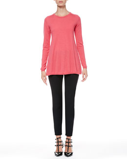 RED Valentino Long-Sleeve Swing Top and Tech Cady Skinny Pants